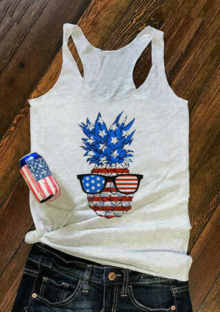 Pineapple Glasses American Flag Tank - Light Grey