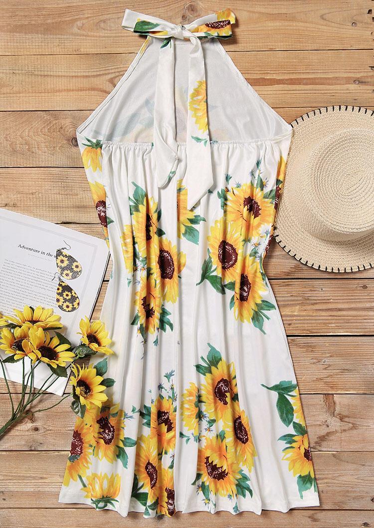 Sunflower Open Back Halter Mini Dress - White