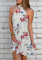 Summer Outfits Floral Halter Tie Sleeveless Mini Dress