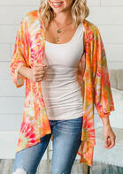 Summer Outfits Tie Dye Batwing Sleeve Cardigan