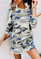 Camouflage T-Shirt Tee And Drawstring Shorts Pajamas Set
