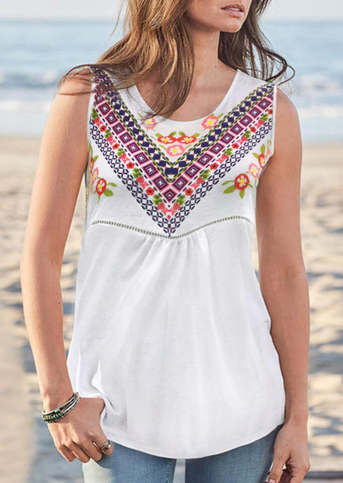 Presale - Floral Geometric O-Neck Tank - White