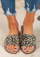 Summer Leopard Beads Velcro Slides Flat Slippers
