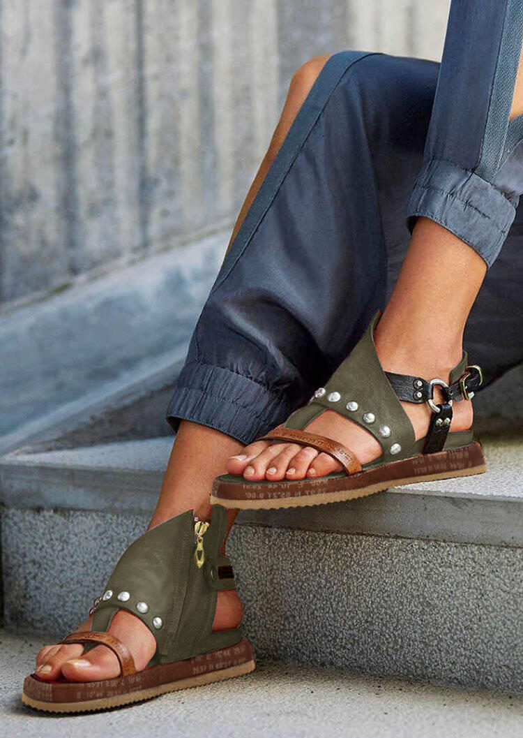 Summer Bohemian Platform Round Toe Zipper Sandals
