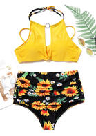Sunflower Hollow Out Tie Halter Bikini Set