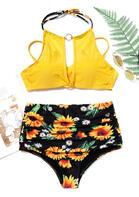 Sunflower Hollow Out Tie Halter Bikini Set