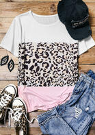 Summer Outfits Color Block Leopard Splicing T-Shirt Tee