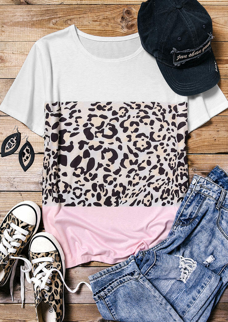 Tees T-shirts Color Block Leopard Splicing T-Shirt Tee without Necklace in Multicolor. Size: S,M фото