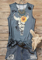 Summer Outfits Sunflower Snake Skin Steer Skull Tank