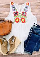 Summer Outfits Vintage Floral V-Neck Tank
