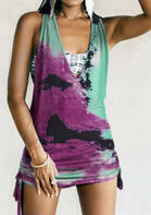Summer Outfits Tie Dye Open Back Drawstring Mini Dress