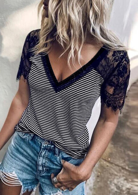 Lace Splicing Striped T-Shirt Tee without Necklace - Black фото