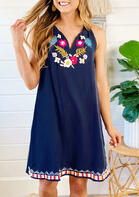 Summer Outfits Floral Sleeveless V-Neck Mini Dress