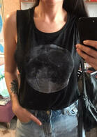 Moon O-Neck Tank - Black