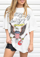 Summer Outfits American Flag Eagle American Lady T-Shirt Tee