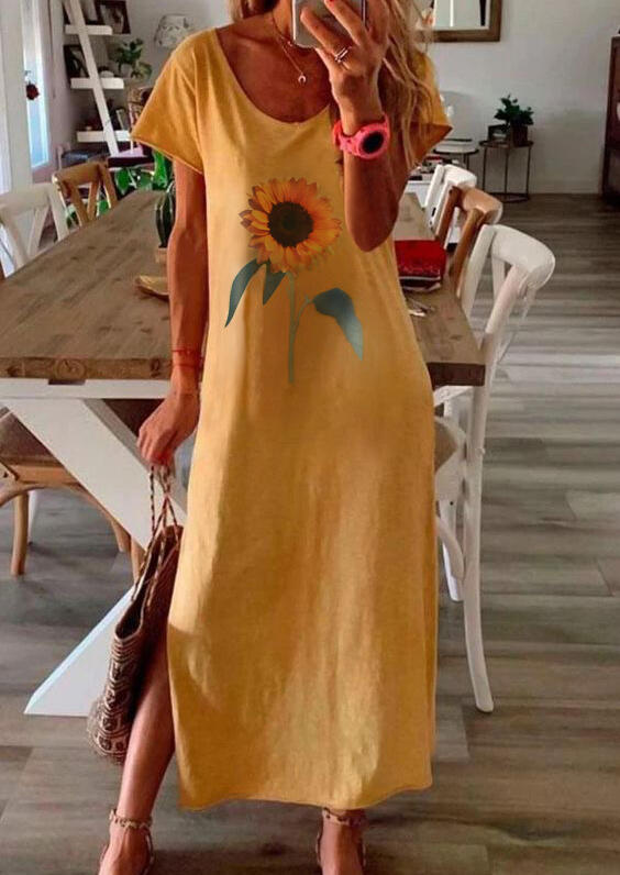 Yellow Sunflower Slit Summer Casual Maxi Dress in Yellow. Size: S фото