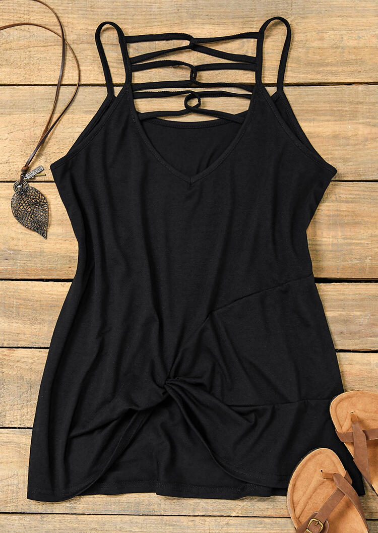 Criss-Cross Hollow Out Twist Camisole - Black