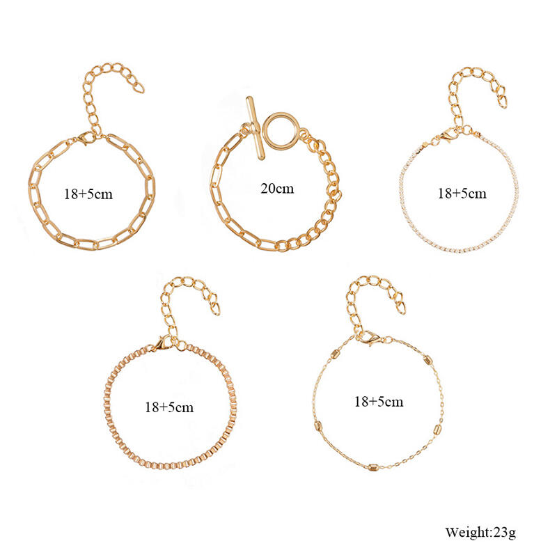 5Pcs Alloy Rhinestone Bracelet Set - Gold