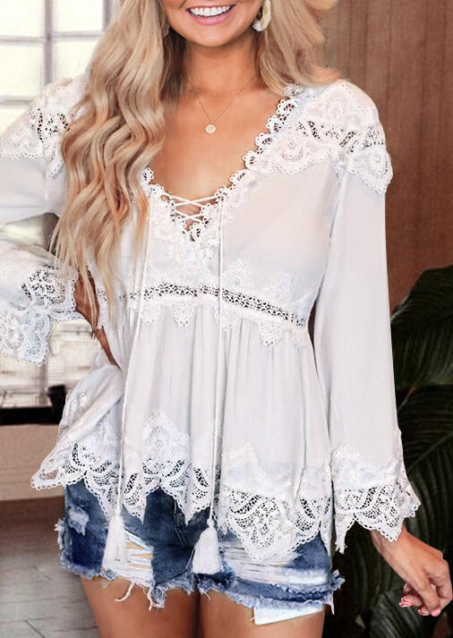 Lace Splicing Criss-Cross Blouse without Necklace - White фото
