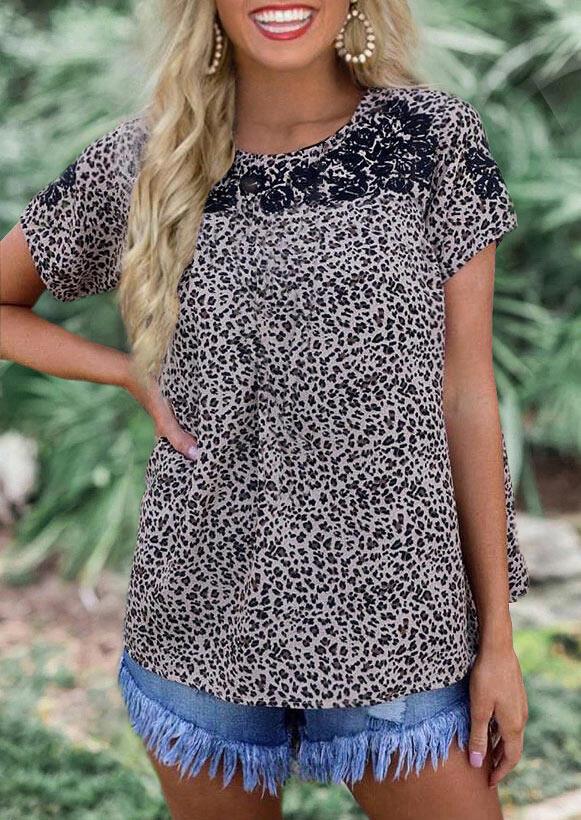 Leopard Floral Splicing T-Shirt Tee фото