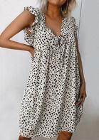 Leopard Ruffled Tie V-Neck Mini Dress