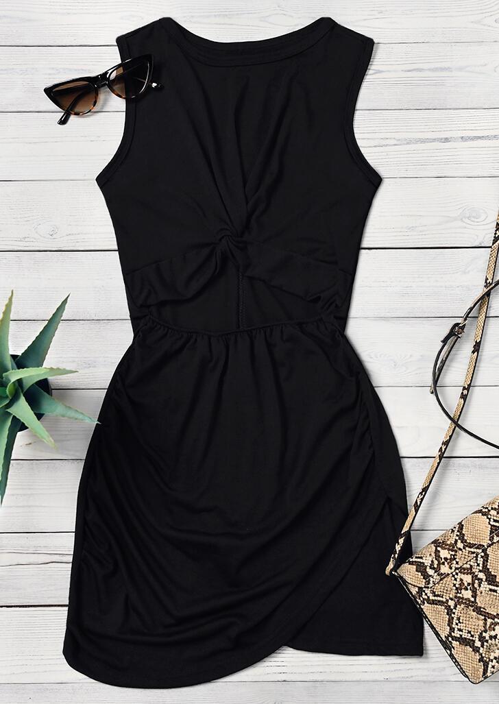 Hollow Out Twist Bodycon Dress - Black