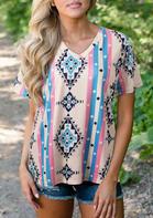 Aztec Geometric V-Neck T-Shirt Tee