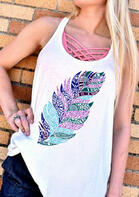 Feather Casual Tank without Criss-Cross Camisole - White