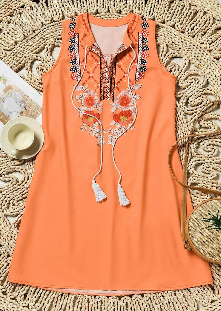 FairySeason / Floral Geometric Tassel Drawstring Sleeveless Mini Dress - Orange