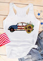 Sunflower American Flag Star Car Tank - White