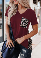 Leopard Printed Splicing T-Shirt Tee without Necklace - Burgundy