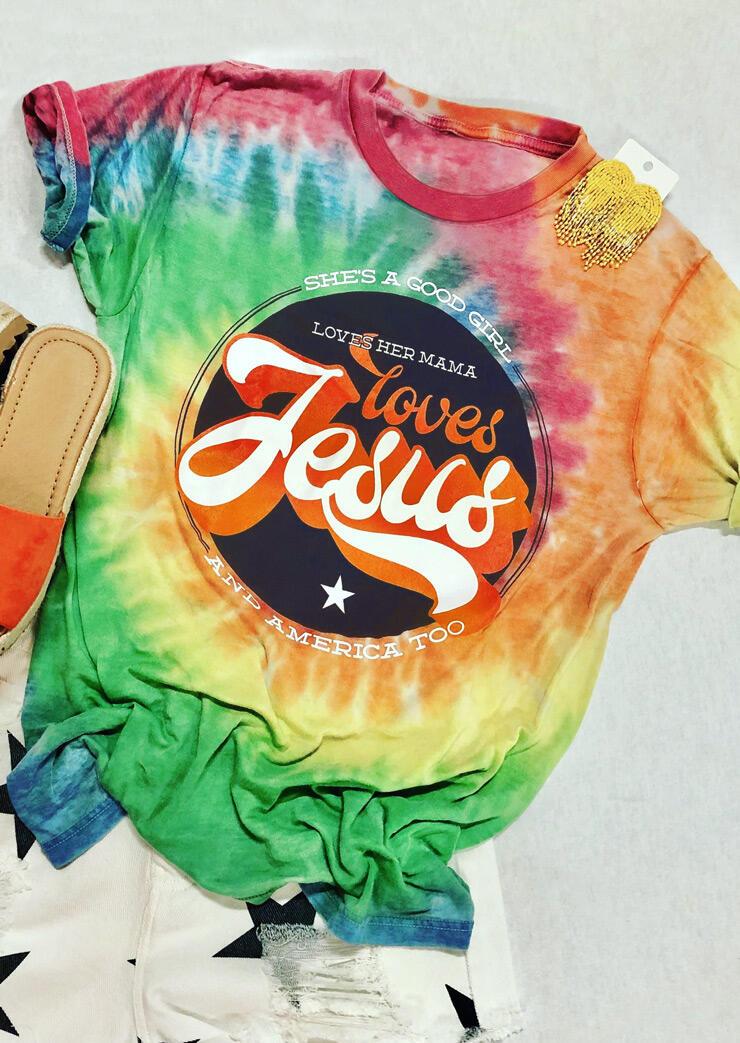 Tie Dye Loves Her Mama Loves Jesus T-Shirt Tee, Multicolor, 472531