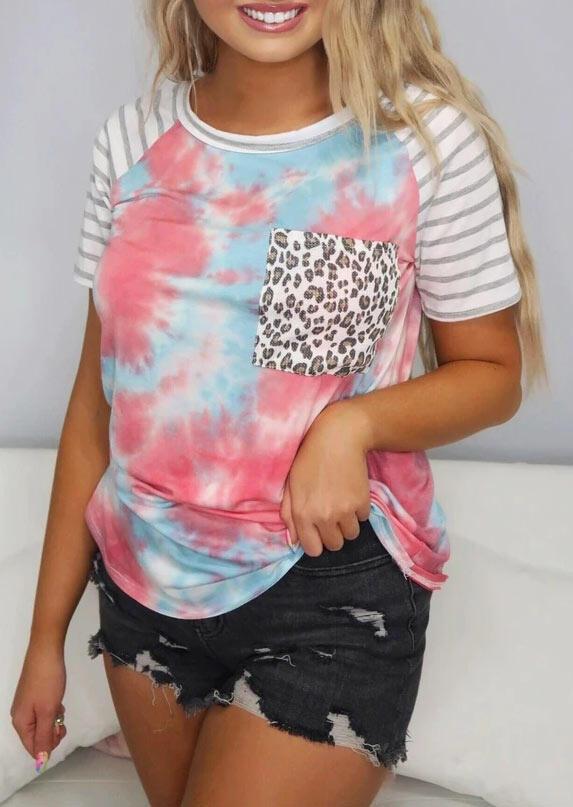 Tie Dye Leopard Striped Splicing Pocket T-Shirt Tee, Multicolor, 472541