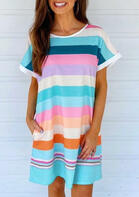 Colorful Striped Pocket Mini Dress