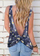 Daisy Tie Dye Twist Open Back Tank