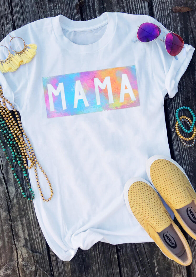 Presale - Tie Dye Mama O-Neck T-Shirt Tee - White, 472492