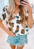 Leopard V-Neck T-Shirt Tee
