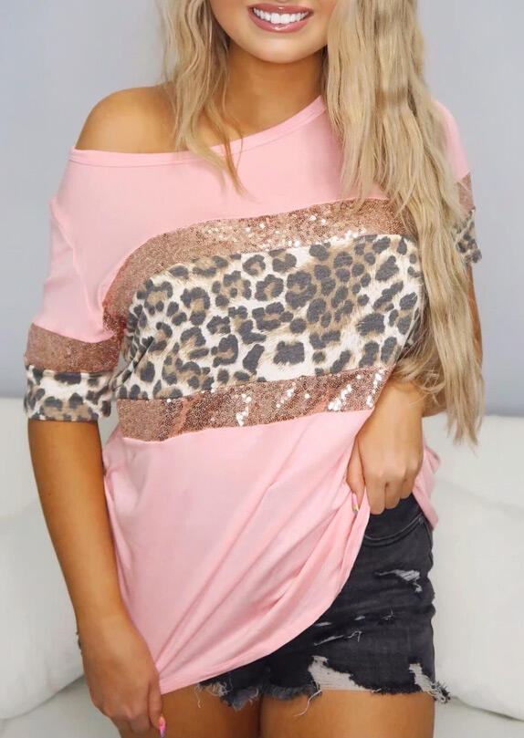 Leopard Sequined Splicing Blouse - Pink фото