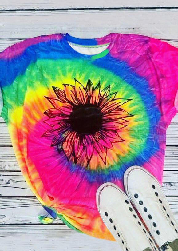 Presale - Tie Dye Sunflower O-Neck T-Shirt Tee, Multicolor, 472694