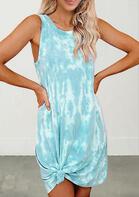 Tie Dye Twist Sleeveless Mini Dress