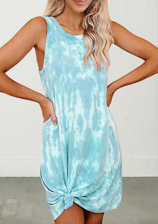 Tie Dye Twist Sleeveless Mini Dress - Lake Blue