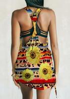 Leopard Sunflower Open Back Ruffled Mini Dress