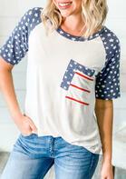 Star Striped Pocket T-Shirt Tee