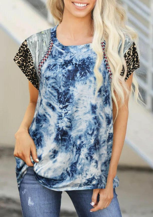 Tie Dye Leopard Splicing Blouse - Blue фото
