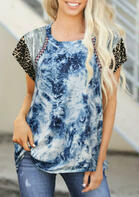 Tie Dye Leopard Splicing Blouse - Blue