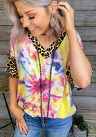 Tie Dye Leopard Splicing Blouse