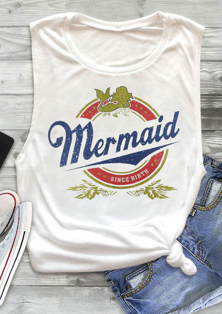 Tank Tops Mermaid Since Birth Casual Tank in White. Size: S,L,XL фото