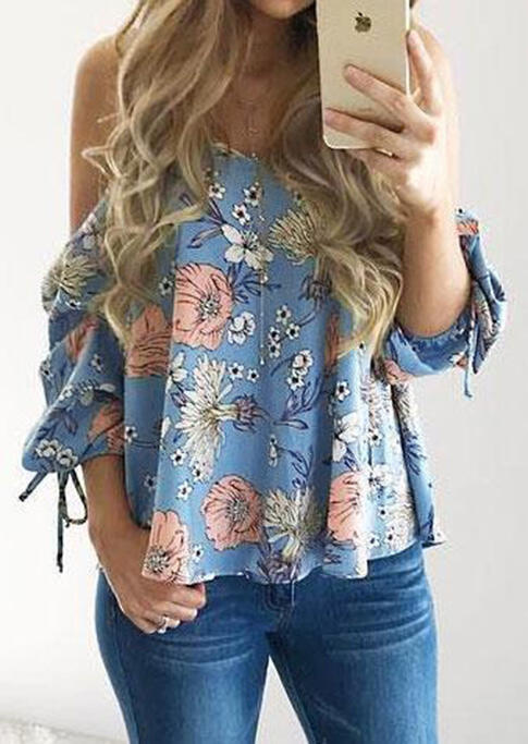 Blouses Floral Spaghetti Strap Cold Shoulder Blouse without Necklace in LightBlue. Size: S,M,L,XL фото
