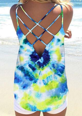 Tie Dye Criss-Cross Open Back Camisole