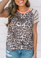 Leopard Striped Splicing Twist T-Shirt Tee